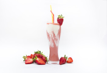 Fresh strawberry fruits and smoothies on white