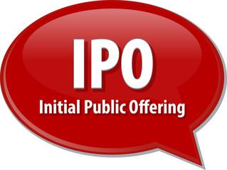 IPO acronym word speech bubble illustration