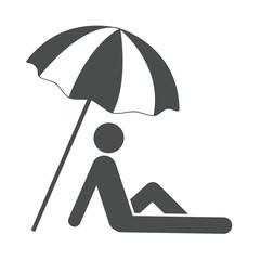 Icono aislado sombrilla en playa gris