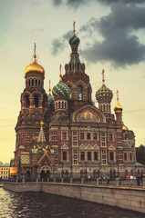Church on Spilled Blood in twilight. Saint Petersburg. Russia