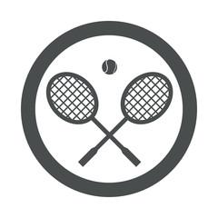 Icono redondo raquetas de tenis gris