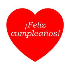 Icono texto ¡Feliz cumpleaños! en corazon