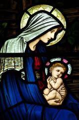 Mary and baby Jesus in stained glass