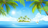Fototapety Tropical island. Vector