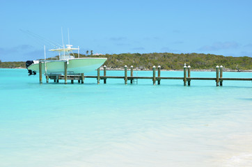 cht at the wooden jetty. Great Exuma, Bahamas