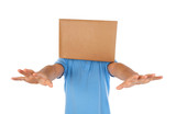 Man blinded by the box to put on his head