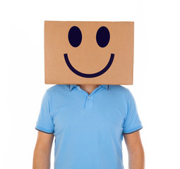 Man standing with a cardboard box on his head with smiley face