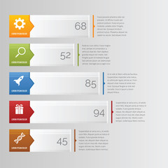 Horizontal bar chart infographic with arrow and icon