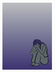 chica deprimida llorando triste