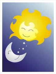sol y luna sonrientes
