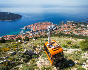Dubrovnik cable car moving down to the city
