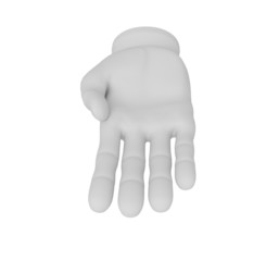 3d white human open hand. White background.
