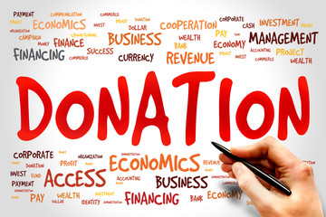 DONATION word cloud, business concept