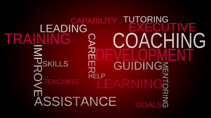 Coaching, development, training word cloud - red bg. Loop able.
