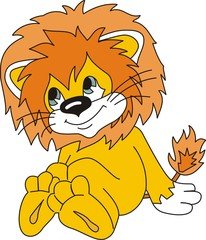 beautiful picture of a lion cub cartoon in vector