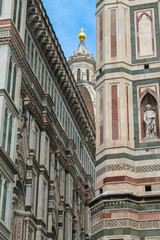 Brunelleschi's dome and of Giotto's belfry in Florence