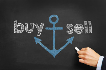 Hand writing buy and sell on blackboard