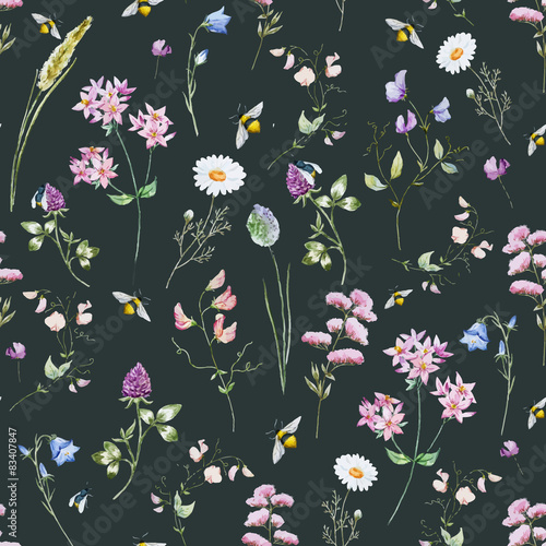 Cotton fabric Watercolor wildflower pattern