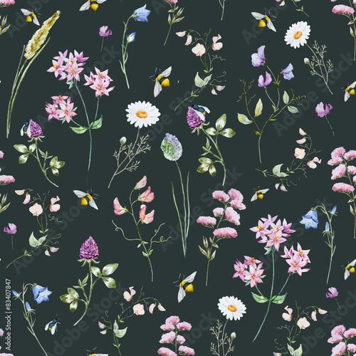 Cotton fabric Watercolor wildflower pattern