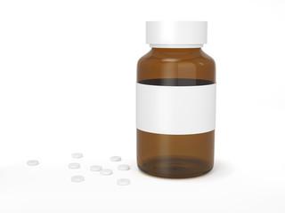 Glass blank medicine bottle with scattered tablets