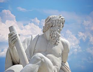 Zeus against blue sky, Navona square four rivers fountain Rome