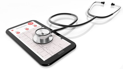 Tablet pc with cardiogram and a stethoscope on it, isolated