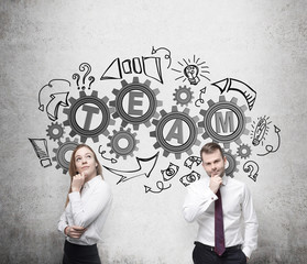 Business couple are thinking about cooperation