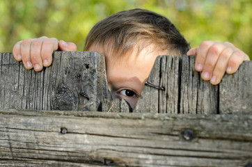 Male Kid Peeking Over a Rustic Wooden Fence