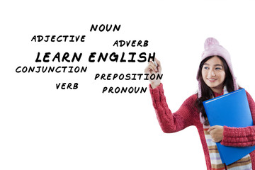 Pretty student learns English