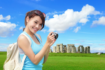 Happy woman travel in England