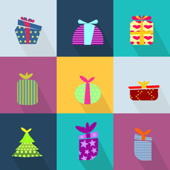 Icons set with brightly colored gift boxes