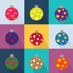 Christmas icons set decorated with ornaments and colored