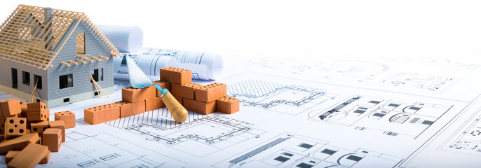 building house - bricks and project for construction industry