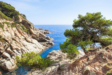 Beautiful rocks near LLoret de Mar, Spain, Costa brava