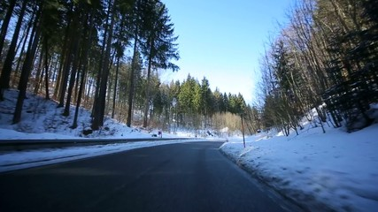on-board-camera in a winter landscape, Germany