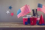 USA independence day celebration. Table arrangement for party - Fine Art prints