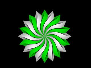 Green gray circular 3D flower pattern on black background