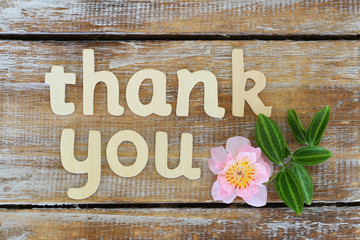 Thank you written with wooden letters on rustic wood