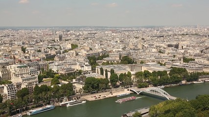 Aerial view video footage of the city of Paris, France