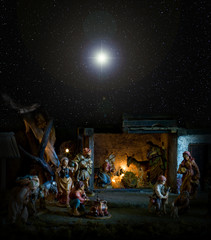 Nativity scene with the Christmas star.