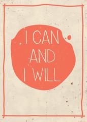 Poster with hand written quote, grunge orange background