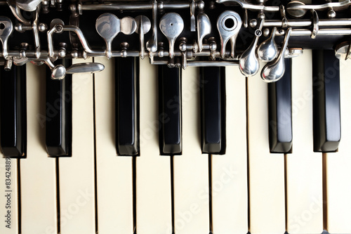 Poster Musical instruments piano and oboe