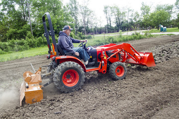 Elderly Man Tilling His Garden With Small Tractor