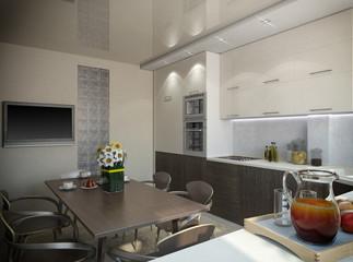 3d rendering of a kitchen in beige tones