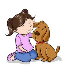 Niña jugando con mascota