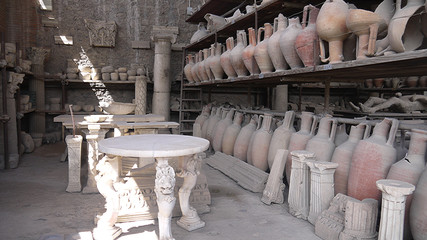 Ancient Civilization Pompeii relic in Italy.