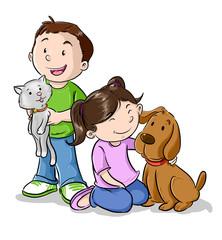 Niños jugando con mascotas