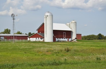 Traditional Red Barn and surrounding farmland