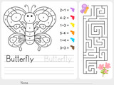 Fototapety Maze game, Color by numbers - Worksheet for education