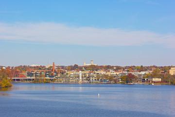 Fall panorama of Georgetown suburb in Washington DC, USA